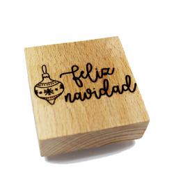 Sello de madera: feliz navidad